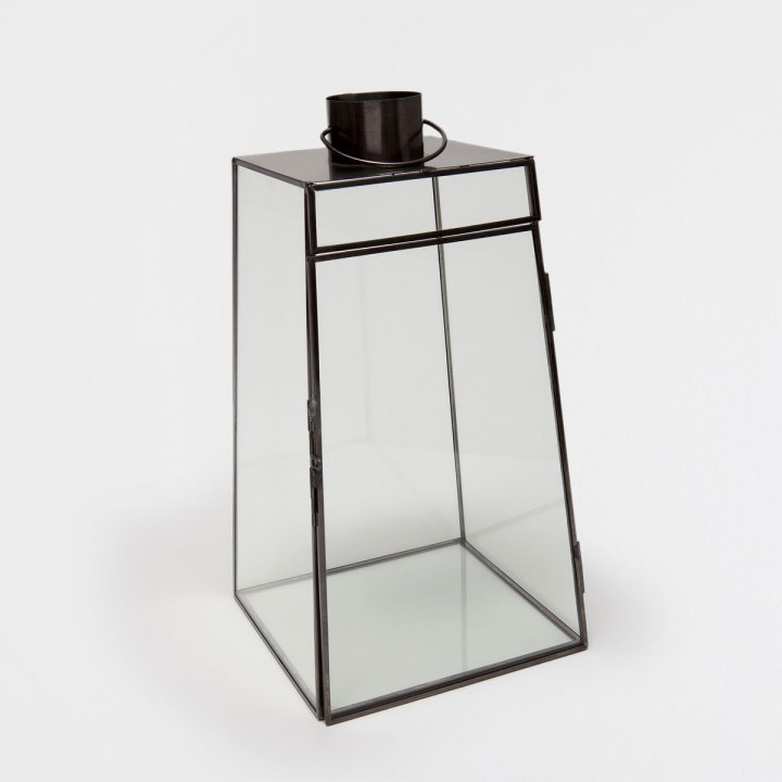 Black Glass and Metal Lantern by Zara Home