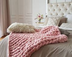 Fluffy arm knit blanket