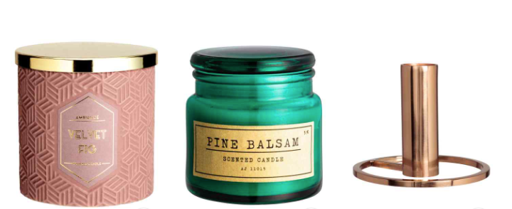 H&M Home Candle Collection: Green, Pink and Gold