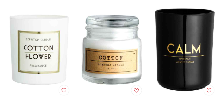 H&M Home Candle Collection: Black, White and Gold