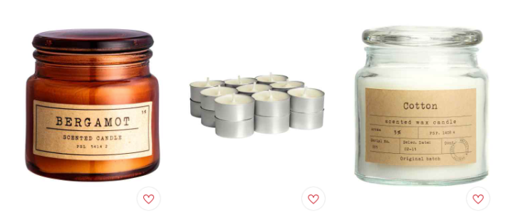 H&M Home Candle Collection: Red, White and Gold
