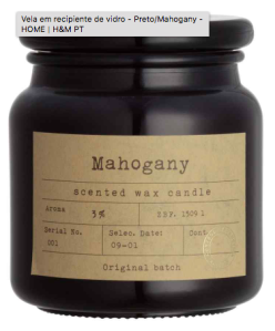 Mahogany H&M Candle - Pharmacy inspired black glass candle